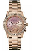Guess Rose Gold Confetti Crystal Glitter Dial Ladies Watch W0774l5