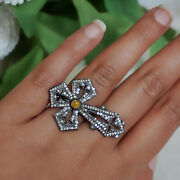 Antique Inspire 1.25ct Diamond Pave Sterling Silver Cross Ring Religious Jewelry