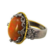 Antique Inspired Opal Gemstone 14k Gold Ring 925 Sterling Silver Diamond Jewelry