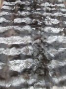 New Natural Silver Fox And Black Fox Blanket Bedspread Rug Andlining 78 X 60 Plate