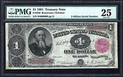 1891 1 Treasury Note With 3 Million S/n ♚♚b3000000♚♚  Pmg Vf 25