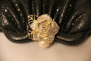 Judith Leiber Black Gold Rose Pearl Crystals Snakeskin Purse Comb
