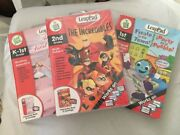 Lot Of 4 Leap Pad Interactive Book And Cartridge Incredibles Bugs Fiesta Ballet