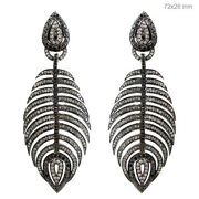 4.35 Ct Diamond Pave 925 Silver Fishbone Earrings 14k Gold Antique Style Jewelry