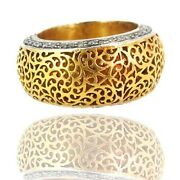 14k Gold Filigree Band Ring Sterling Silver Pave Diamond Inspire Antique Jewelry