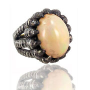 Opal Gemstone 925 Sterling Silver Ring Diamond 14k Gold Antique Inspired Jewelry