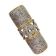 14k Gold Pave 5.72ct Diamond Armor Knuckle Ring 925 Silver Antique Style Jewelry