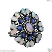 Gemstone Opal/sapphire Sterling Silver Pave Diamond Ring 14k Gold New Collection