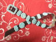 Native American Conch Belt - Sterling And Turquoise - Hallmarked - Cb110