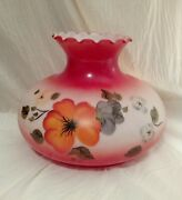 Rare Large Red Orange Floral Hand Painted Hurricane Glass Lamp Shade 10 Fitter