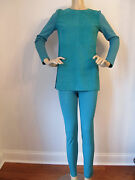 Nwt St John Knit Pant And Top Size 4 Verde Green Milano Knit Suede And Leggings
