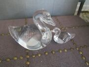 Pair Vintage 1989 Hand Blown Art Glass Clear Swans Paperweight Figurines Signed
