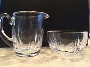Waterford Crystal Creamer And Open Sugar Bowl Set Vertical Diamond Cuts