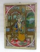 Antique Original Old Mughal Islamic Indian Queen Fine Reverse Glass Painting
