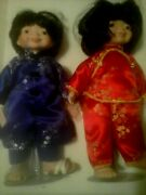 Lot Of 2 Asian Japaneseseymour Mann Connoisseur Collection Dolls 14and039 1/2andrdquo