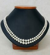 Antique Graduated Natural Pearl 3.5-7mm Double Strand 18and039and039 Necklace Silver Clasp
