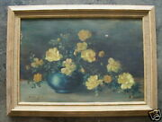 Lilla Yale Listed Ct Woman Artist Yellow Roses Painting