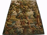 A Beautiful Antique Tapestry With Castle River And Trees 3 Of 4