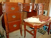 Antique Mahogany Vanity And Matching Stool Made By White Brothers Furniture Co.