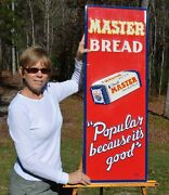 Vintage Master Bread Sign Scarce Vertical Sign W/ Bread Minty Super Collectable