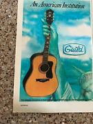 1982 Vintage 5.25x8 Print Ad For Guild Acoustic Guitars Statue Of Liberty Art