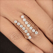 Natural Diamond Pave Cocktail Cuff Ring 18k Rose Gold Handmade Fine Jewelry