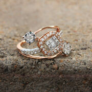 Natural 0.74 Ct. Diamond Pave Floral Ring Solid 18k Rose Gold Handmade Jewelry