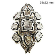 Natural Rose Cut Diamond Pave Ring Sterling Silver 14 K Yellow Gold Fine Jewelry