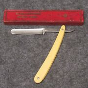 Wade And Butcher Mystic Ct 6 Straight Razor Ivory Colored Celluloid Handles Vtg