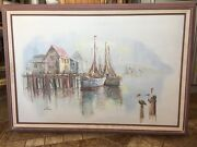 Vintage Estate Original Luini Fishing Boats At Dock Oil On Canvas Painting
