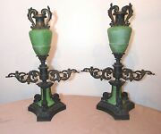 Pair Of Large Antique 1800and039s Ornate Bronze Glass Argand Cigar Gas Lighter Lamps