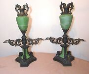 Pair Of Large Antique 1800's Ornate Bronze Glass Argand Cigar Gas Lighter Lamps