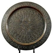 1850s Antique Collectible Flower Design Craved Brass Plate Rich Patina.g26-28 Us