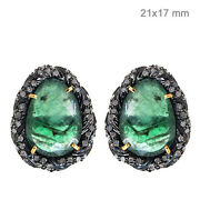 Pave Diamond Sterling Silver Emerald Stud Earrings 14k Gold Antique Look Jewelry