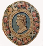 A Rare Antique Wool And Silk Tapestry Depicting Roman Emperor