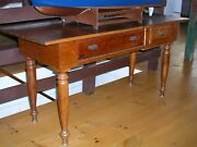 American Cherry 2 Drawer Antique Country Harvest Farm Work Table Circa 1800and039s