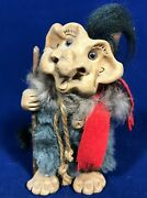 Vintage Good Luck Lake Superior Clay Sand Forest Ski Troll Signed S For Steele