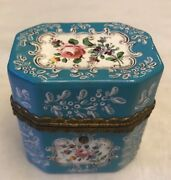 Rare South Staffordshire Sky Blue-ground And White Enamels Scent Bottle Box