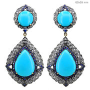 1.57ct Pave Diamond Turquoise/sapphire Sterling Silver Earrings 14k Gold Jewelry