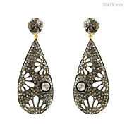 Sterling Silver Pave 3.1ct Diamond 14k Gold Dangle Earrings Look Antique Jewelry