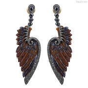 Tiger Eye Carved Dangle Earrings 14 K Gold Pave Diamond 925 Silver Vintage Style