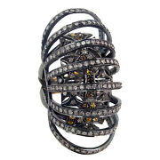 14k Gold Pave 4.99ct Diamond Cage Ring .925 Sterling Silver Antique Look Jewelry