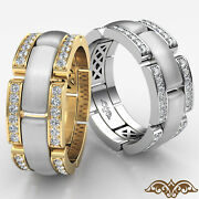 0.75ct. Micro Pave Chain Link Menand039s Diamond Eternity Wedding Band 2 Tone Gold