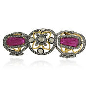 7.1 Ct Ruby Diamond 925 Sterling Silver Gold Knuckle Long Ring Sizable Jewelry