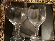 Thomas Holiday 2 Wine Glasses Blown Twisted Stem Water Crystal Signed