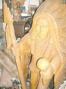 Sale Antique 5ft Native American Chief Carved Cedar Statue Local Pick Up