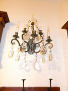 2 Spectacular Gilded Sconces W/ Large Crystal Finial And Huge Crystal Prisms