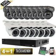 5mp 16ch All-in-1 Hdmi Dvr 5mp 4-in-1 Ahd Security Camera System 3tb Tvi Ip66/2