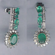 Memorial Day 4.02ct Emerald Pave Diamond 18kt White Gold Dangle Earrings Jewelry