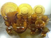 Tiara Indiana Glass Amber Plates Cups Saucers And Goblets